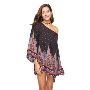 Boho Loose Tribal Baroque Mini Beach Dress Coverup